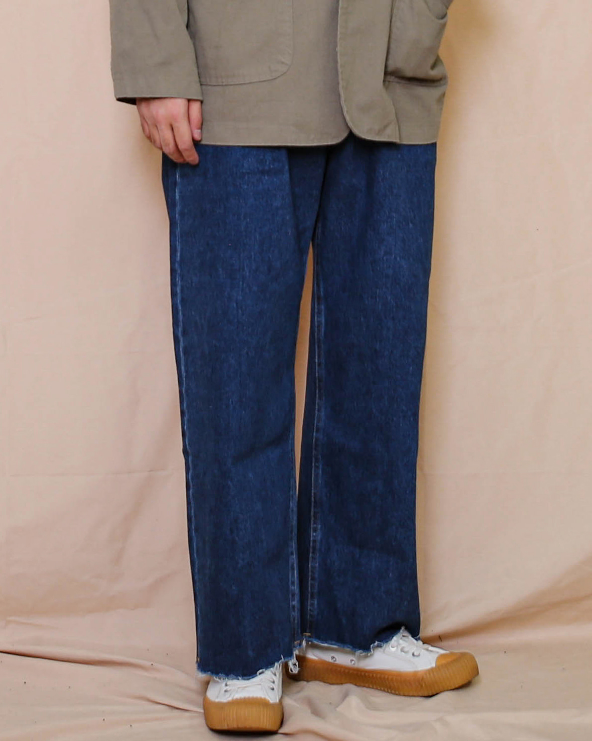 Cutted Wide Denim Pants (Middle Denim)