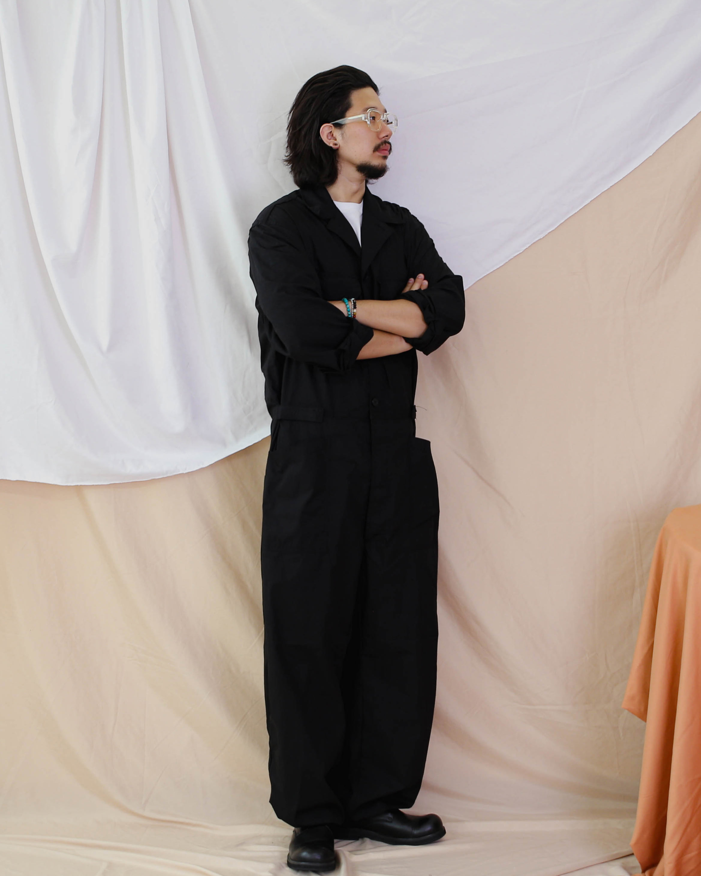 Over Wide Vintage Coverall (Black/Khaki)