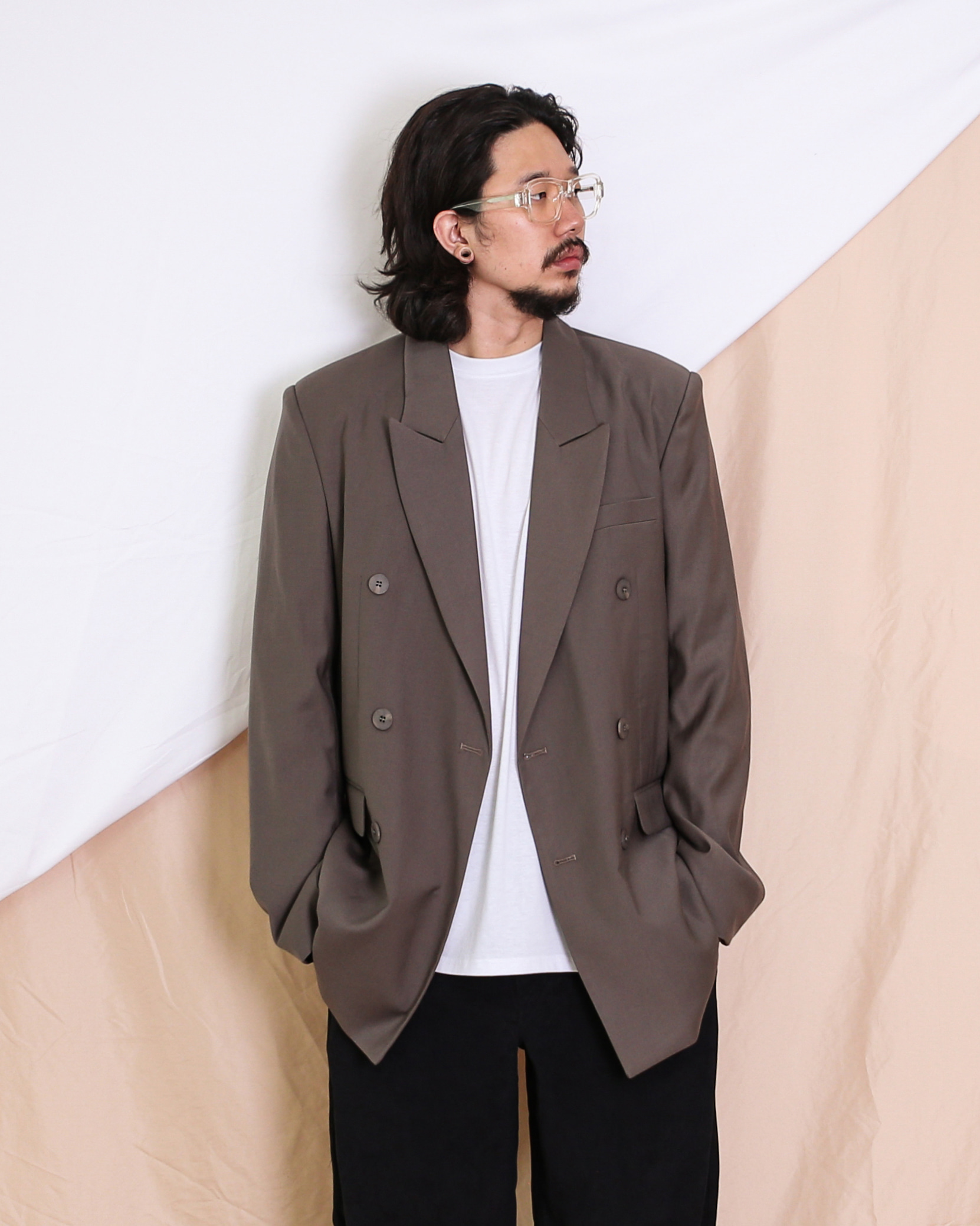 Peaked Double Blazer (Black/Khaki Gray)