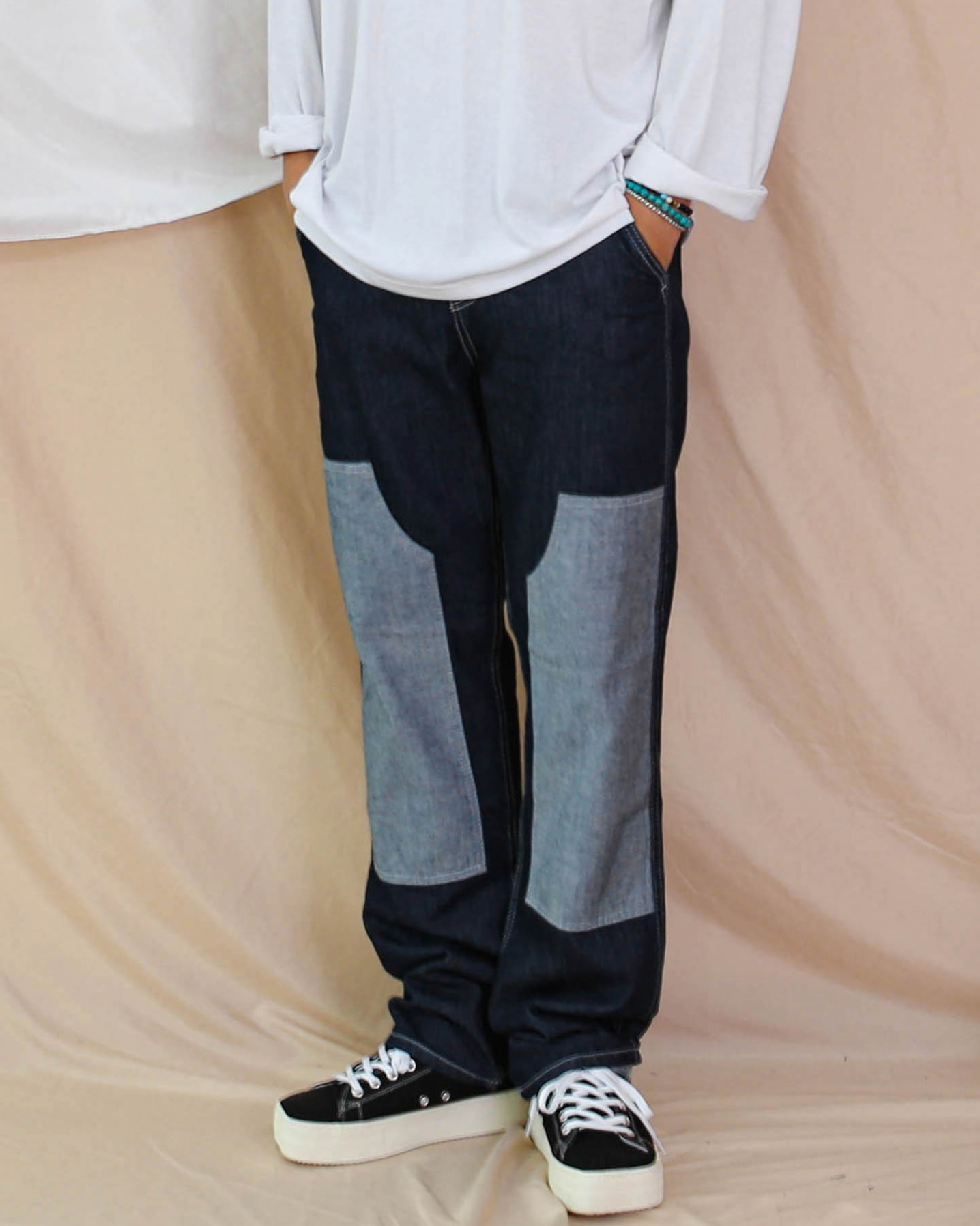 Patch Wide Denim Pants (Denim)