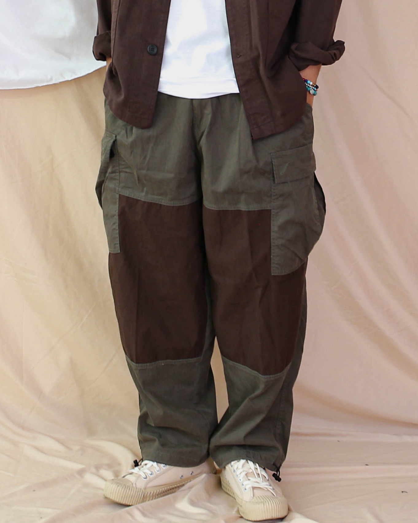 Wide Patch Cargo Pants (Navy/Khaki/Gray)