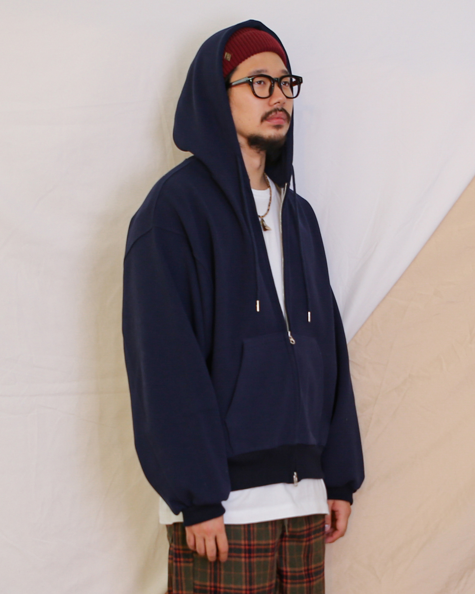 Balloon Hoodie Zip Up (Black/Navy/Gray)