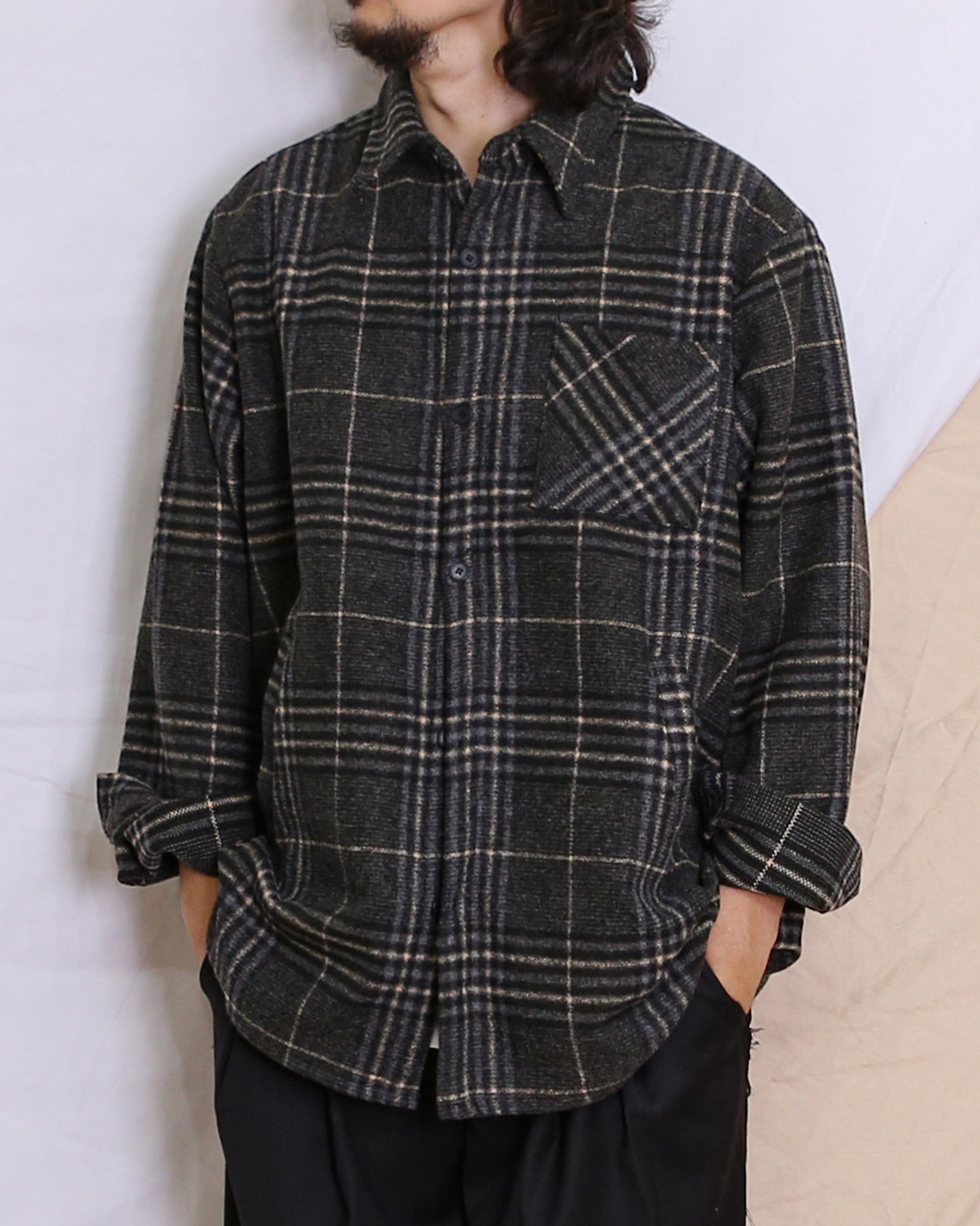 Basic Check Flannel Shirts (Black/Green)