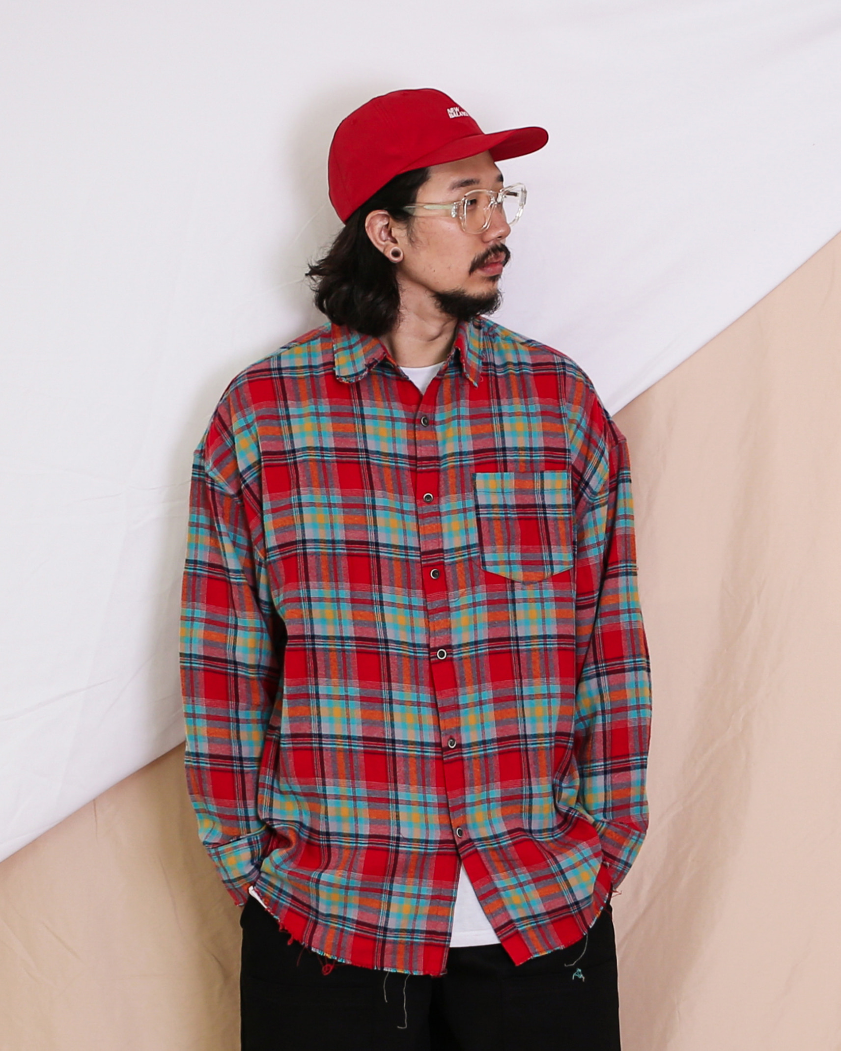 Vintage Check Shirts (Navy/Red)