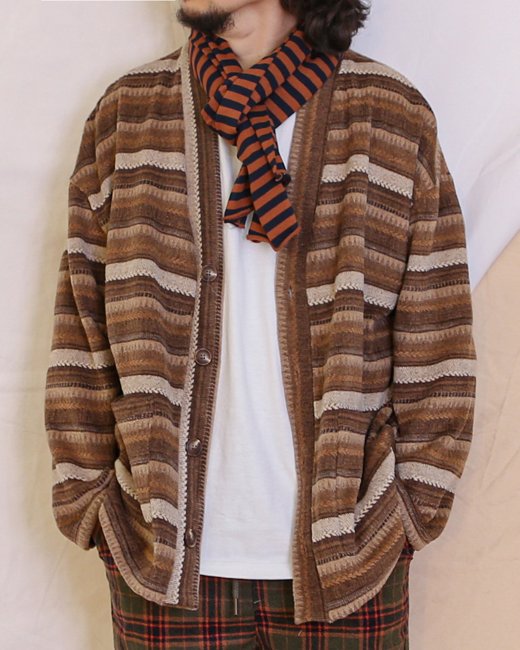 Wool Ethnic Cardigan (Black/Brown)