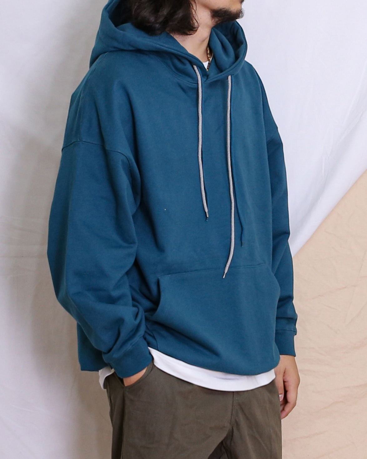 Double String Velcro Hoodie (Black/Gray/Mustard/BlueGreen)