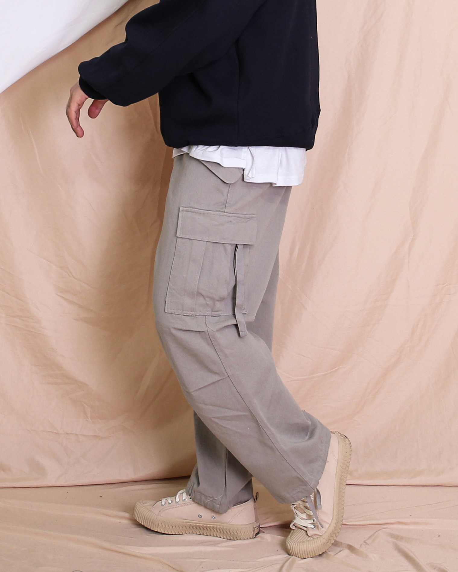 Weaving Pocket Cargo Pants (Black/Gray/Navy)