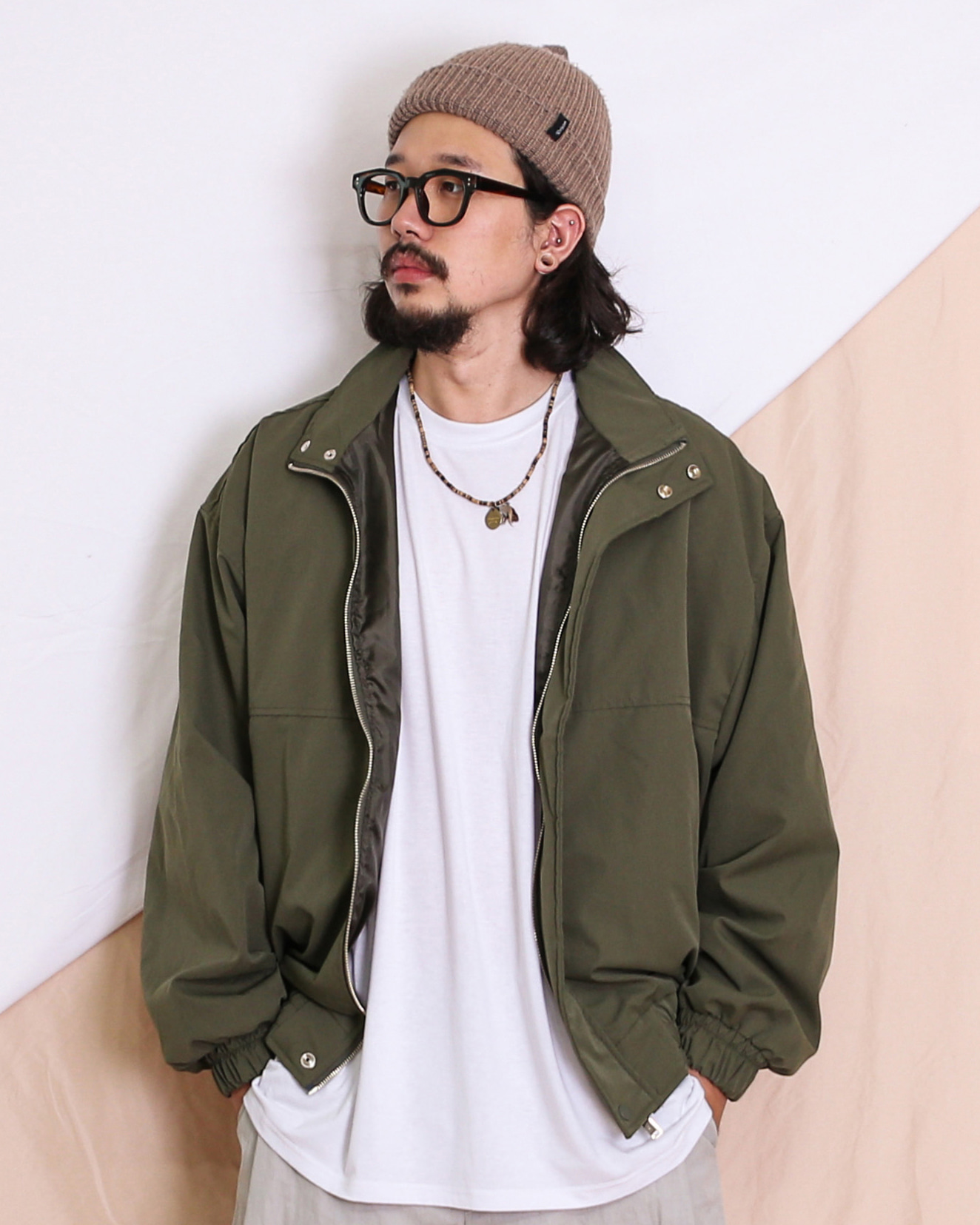 Balloon Zip Up Jacket (Black/Moca/Khaki)