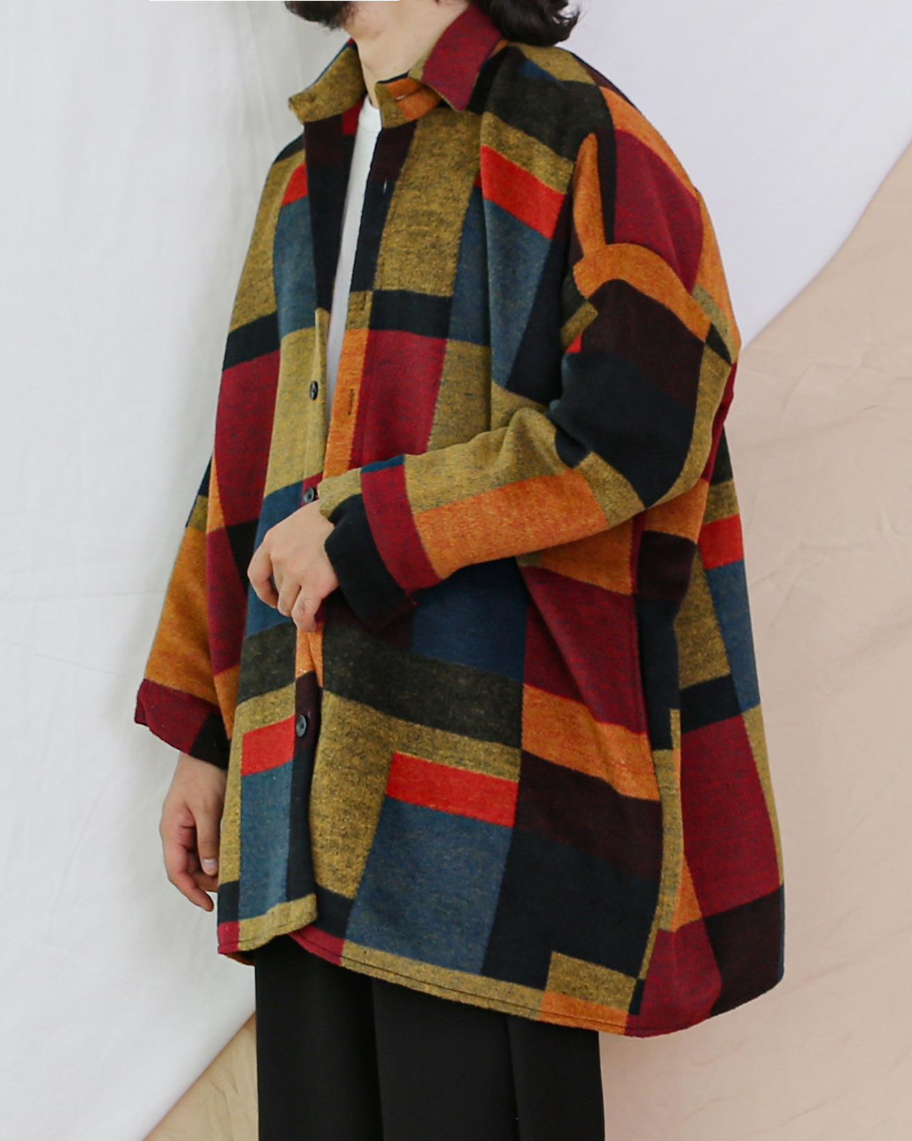 Square Flannel Check Jacket (Wine/Mustard)