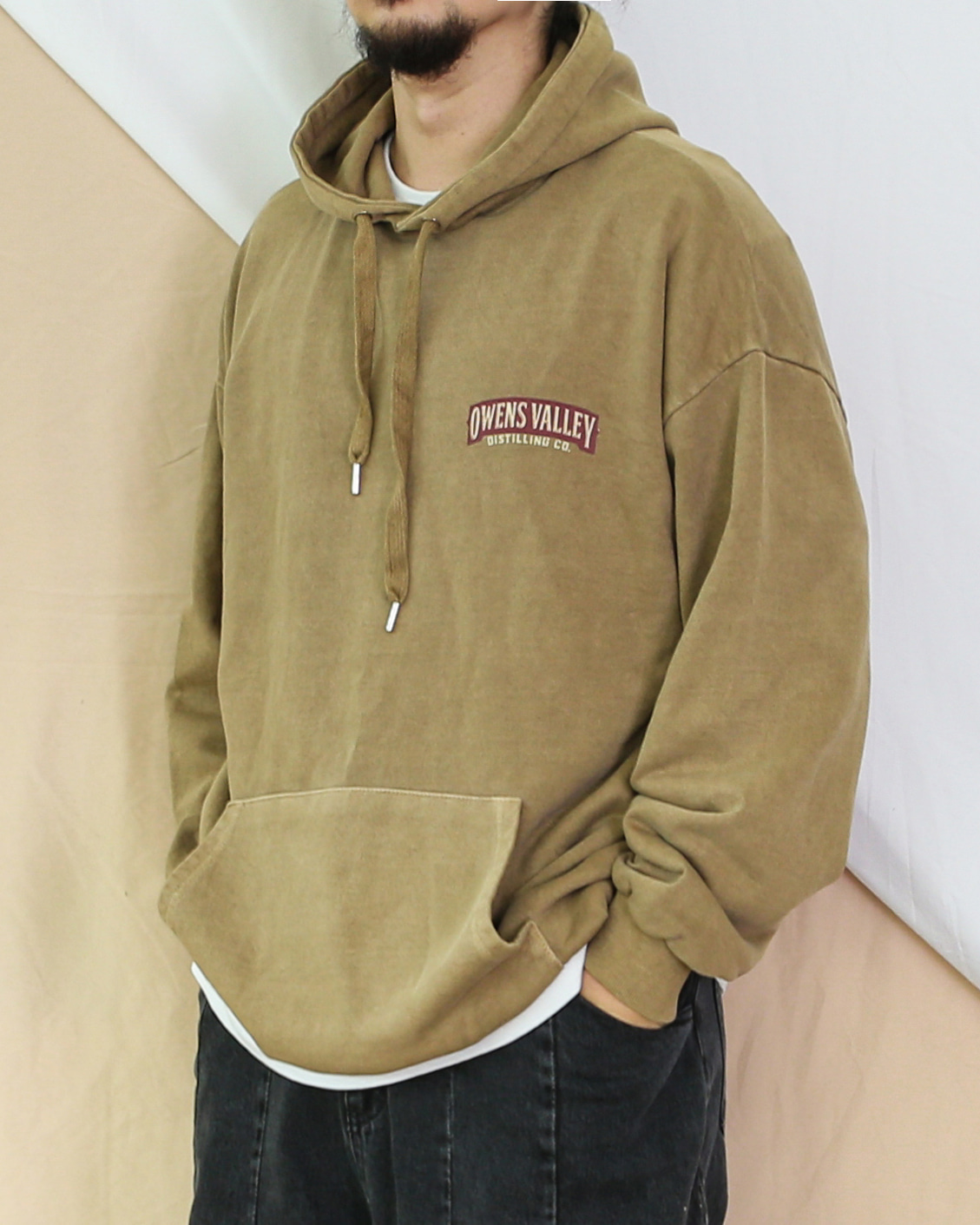 Round Printing Pigment Hoodie (Charcoal/Brown/Khaki)