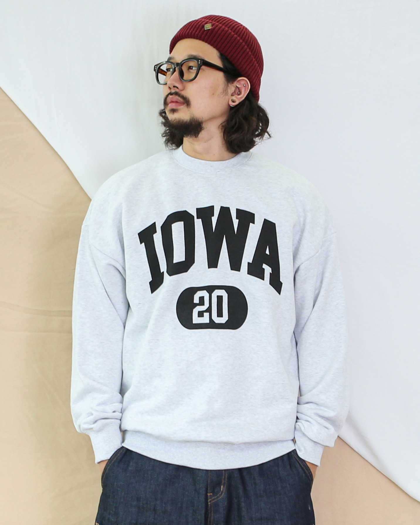 Big Logo Lettering Sweatshirts (Navy/Light Gray)