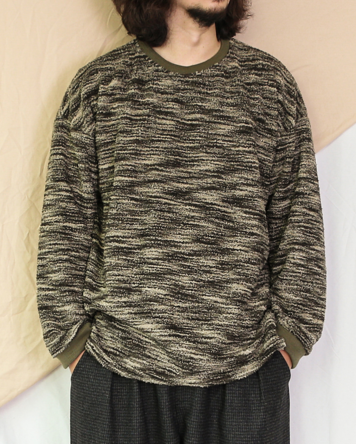 Ethnic Pattern Fleece Sweat Shirts (Black/Khaki)