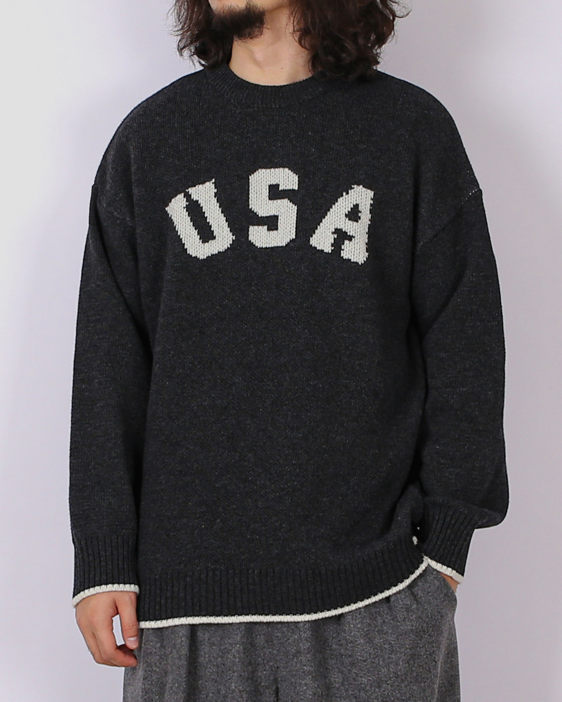 USA Lambswool Over Knit (Charcoal/Brown/Gray/Khaki)