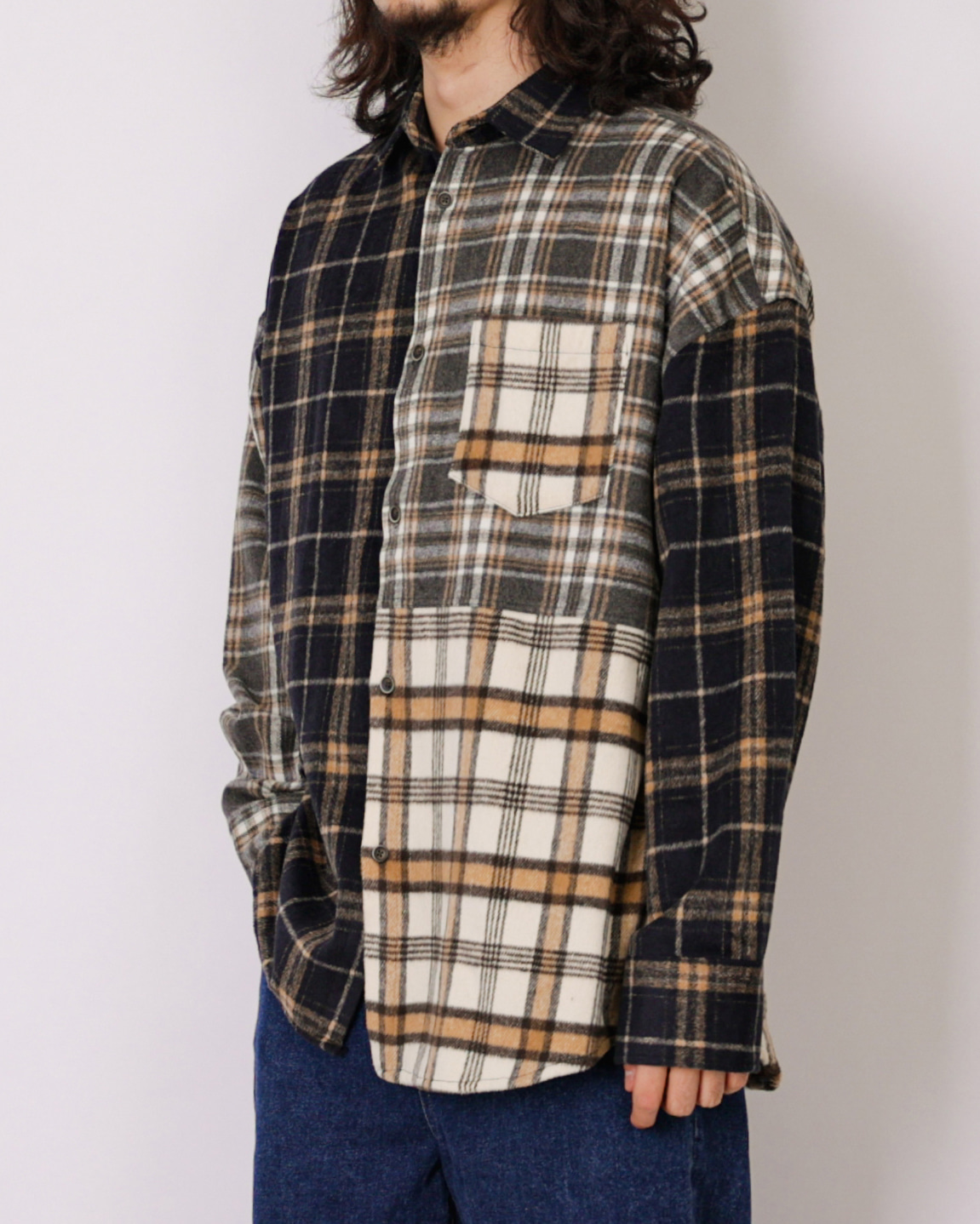 Flannel Crazy Check Shirts (Black)