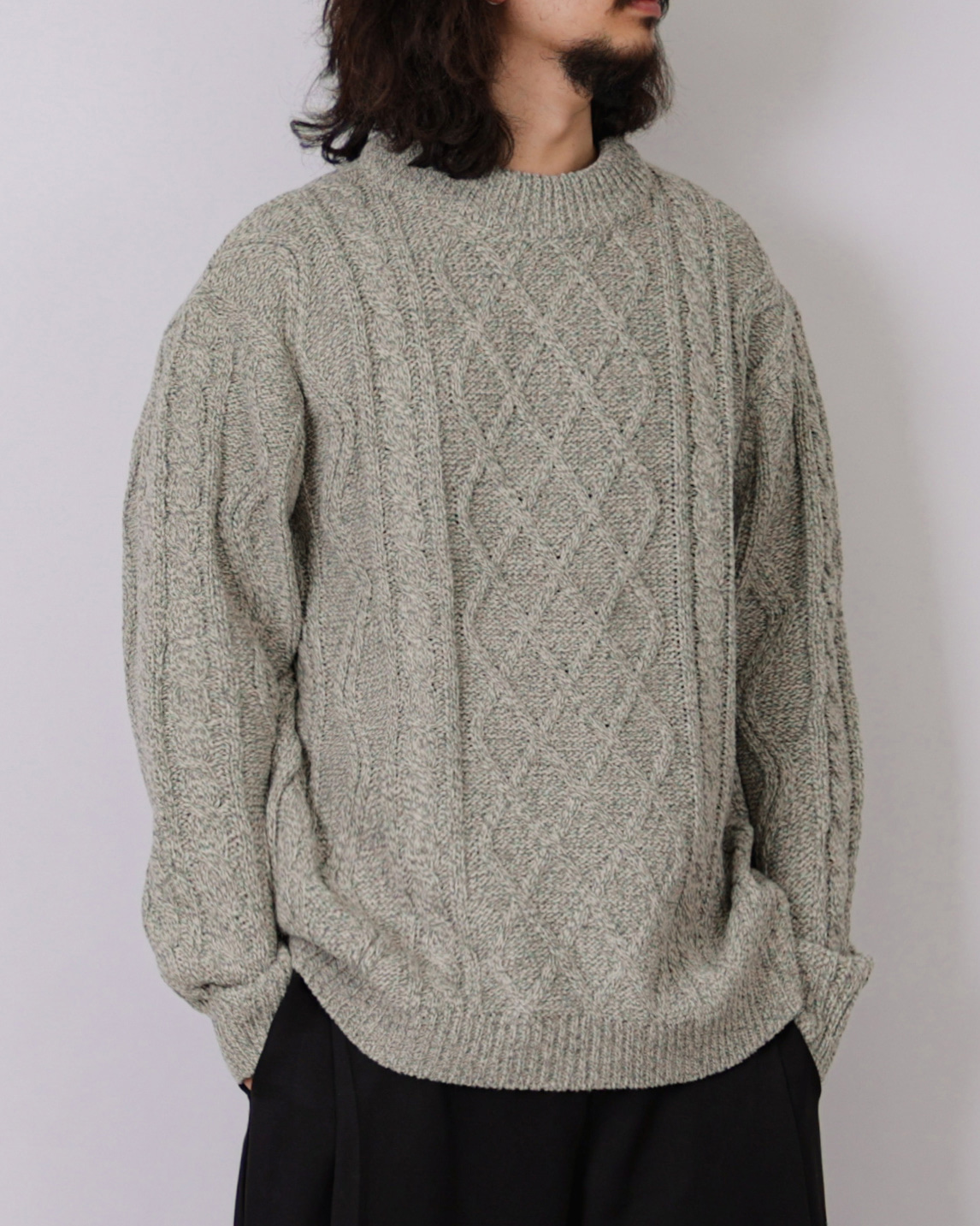 Fisher Cable Wool Knit (Navy/Khaki/Brown/Green/Oatmeal)