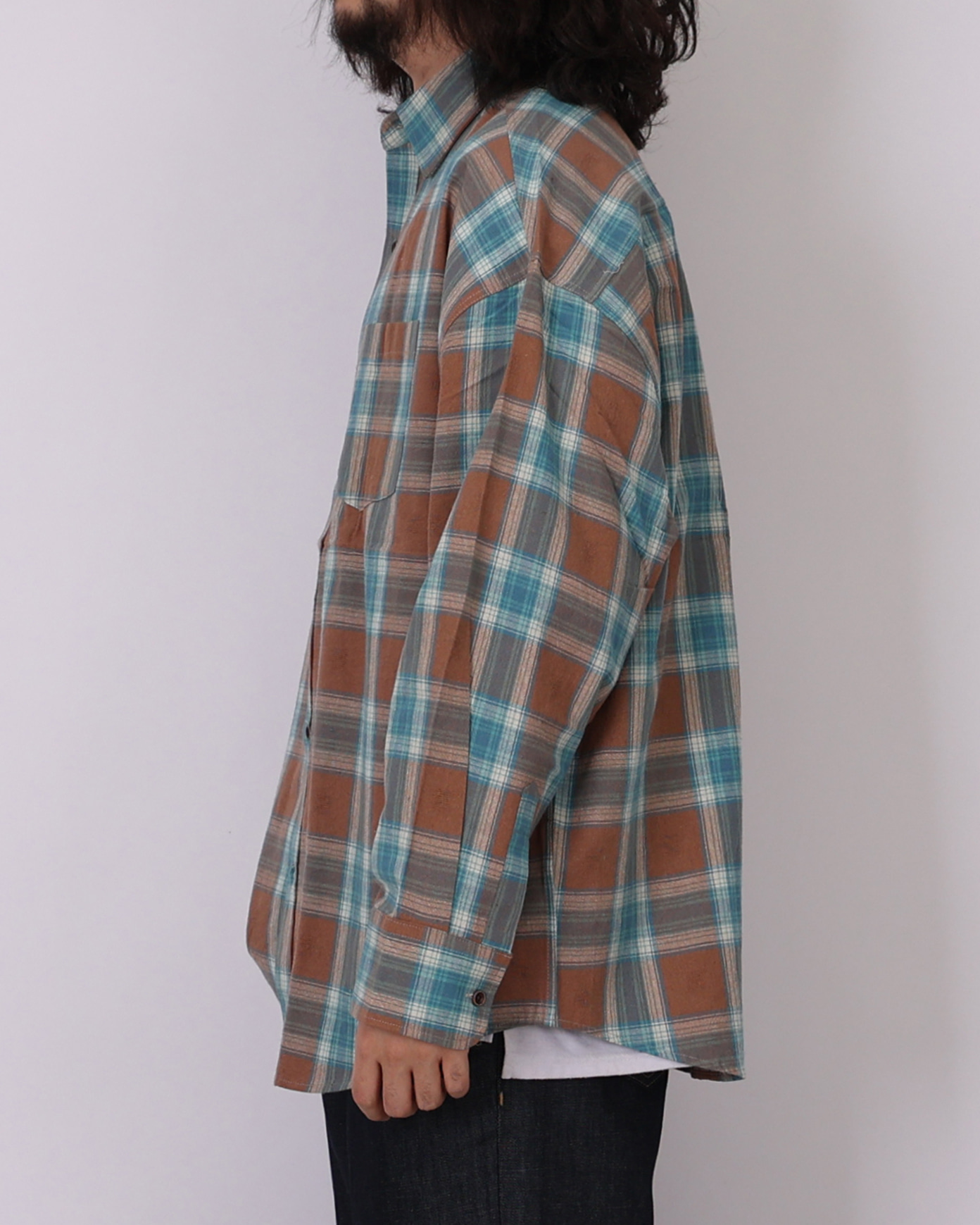 Vintage Check Over Shirts (Navy/Mint)