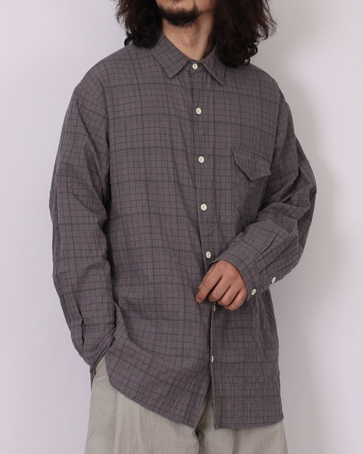Wrinkle Wide Check Shirts (Black/Gray)