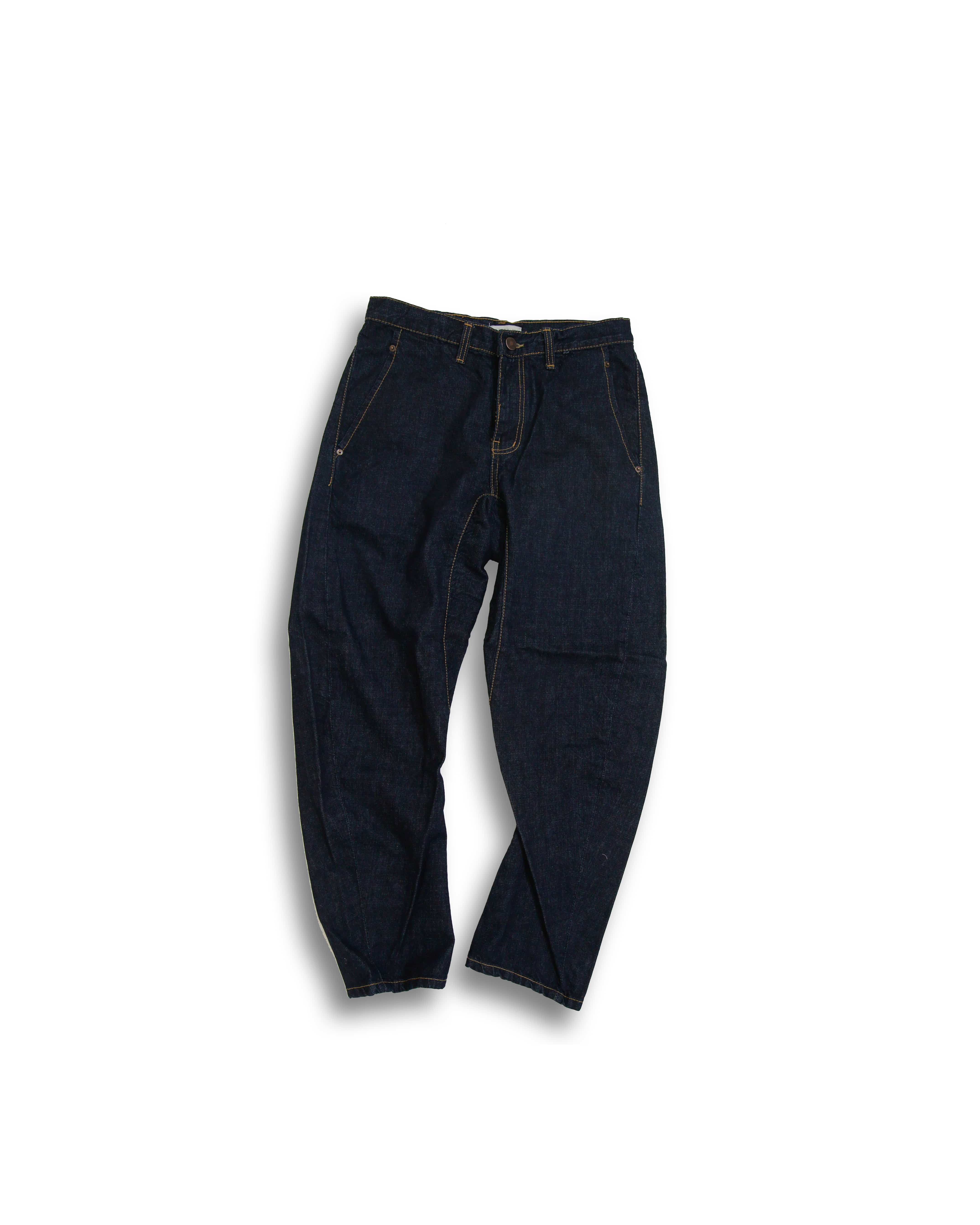 Wide Tapered Denim Pants (Raw Denim)