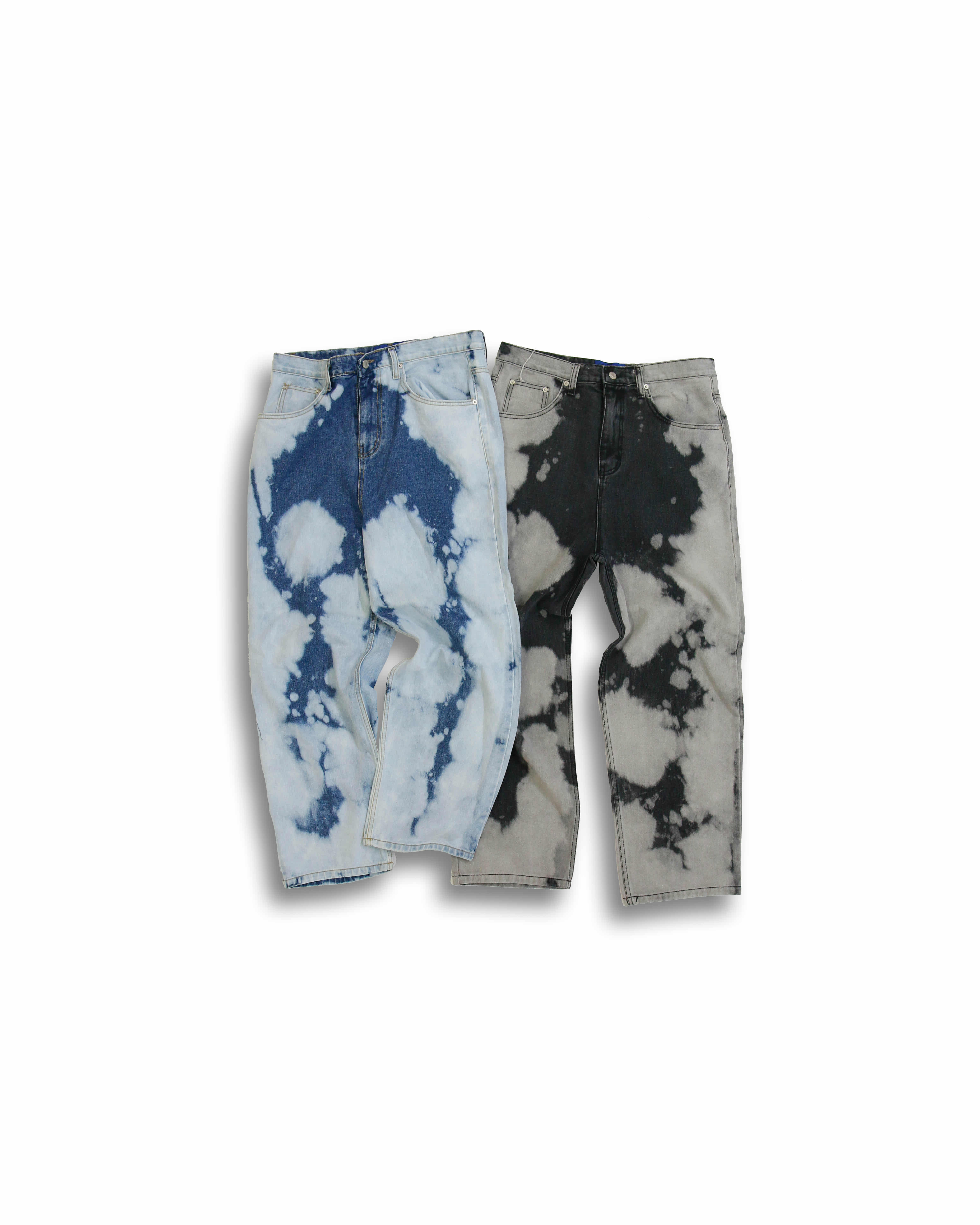 Bleach Dying Denim Pants (Black/Blue)