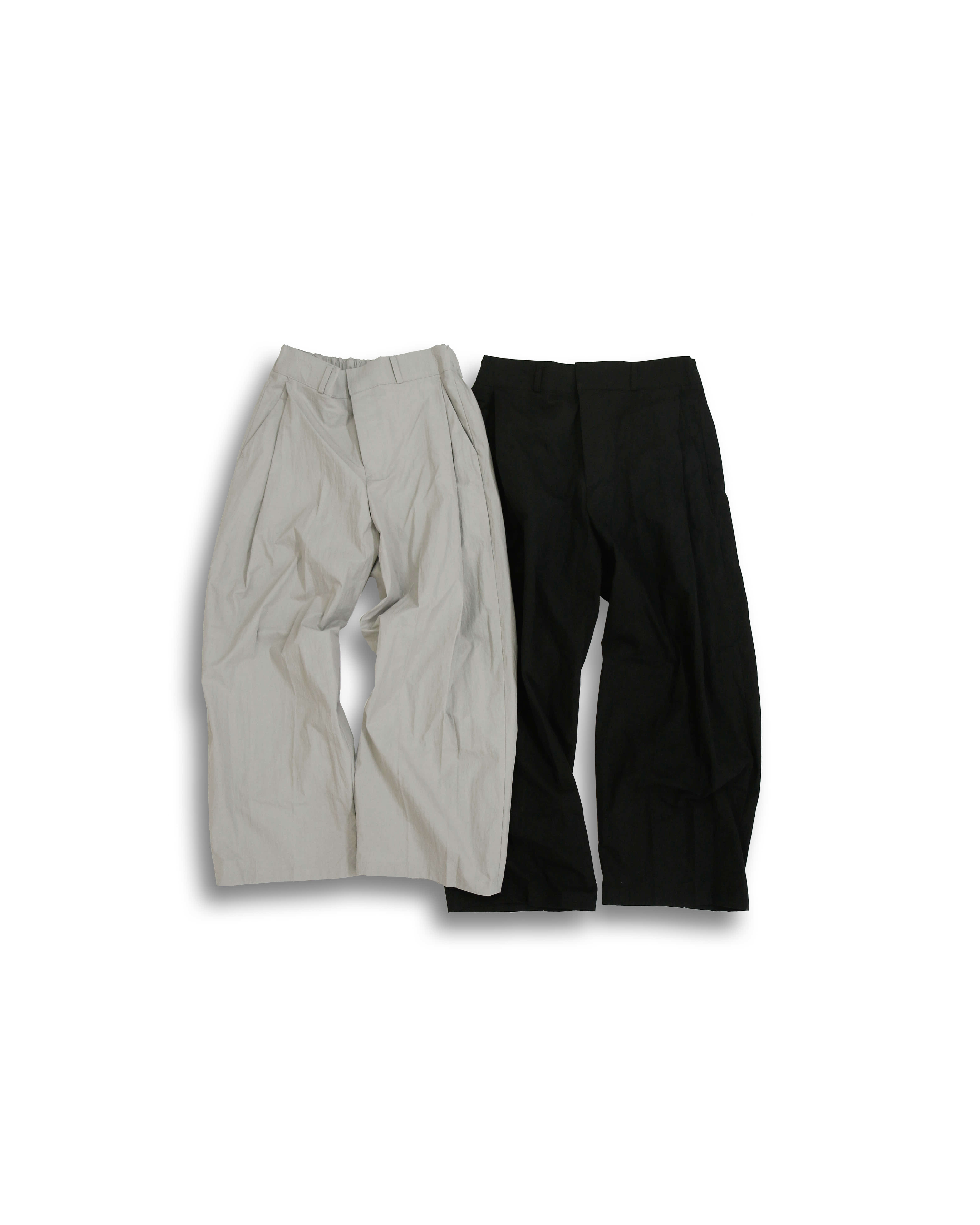 Curved Wide Slacks (Black/Gray)